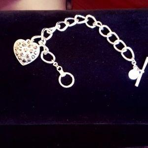 Liz Claiborne crystal heart charm toggle NWOT
